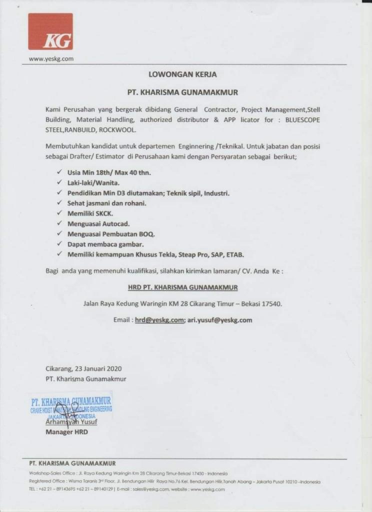 PT. Kharisma Gunamakmur (Drafter/Estimator)