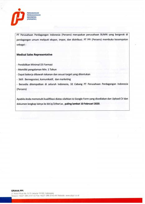 PT Perusahaan Perdagangan Indonesia (Medical Sales Representative)