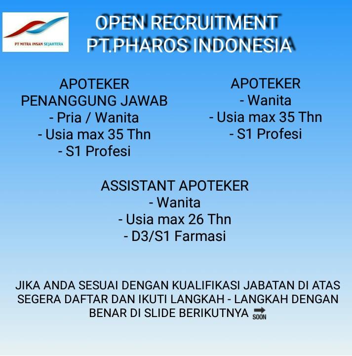 PT Pharos Indonesia (Apoteker)