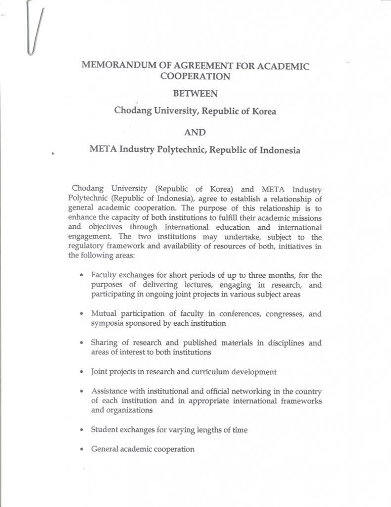 MEMORANDUM OF AGREEMENT FOR ACADEMIC COOPERATION BETWEEN CHODANG UNIVERSITY AND META INDUSTRY POLYTECHNIC