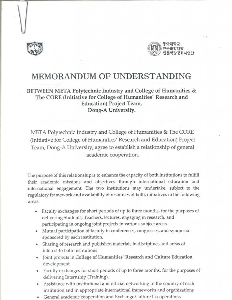 MEMORANDUM OF UNDERSTANDING BETWEEN META POLYTECHNIC INDUSTRY AND DONG-A UNIVERSITY