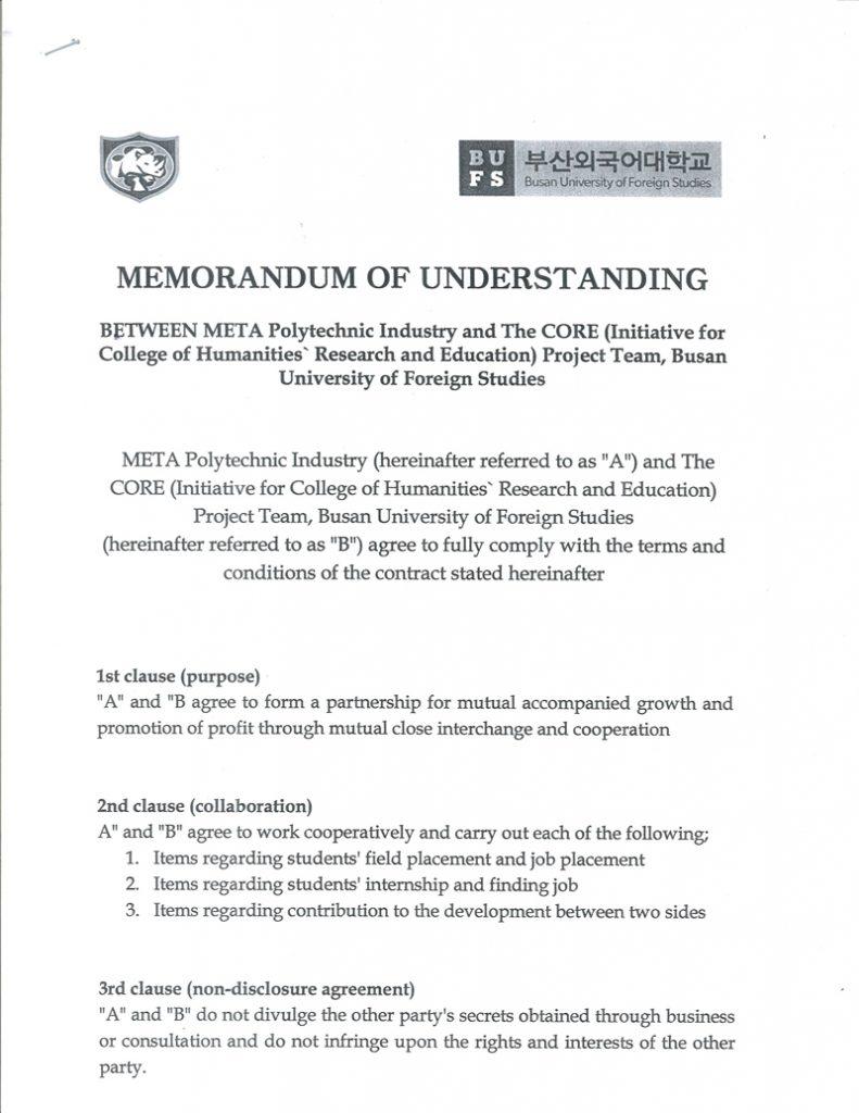 MEMORANDUM OF UNDERSTANDING BETWEEN META POLYTECHNIC INDUSTRY AND BUSAN UNIVERSITY OF FOREIGN STUDIES
