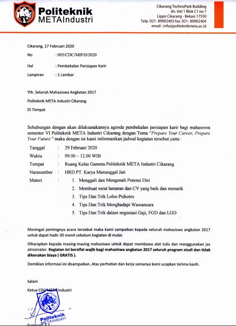 Pengumuman Pembekalan Persiapan Karir Bagi Mahasiswa Semester VI Politeknik Meta Industri Cikarang Tanggal 29 Februari 2020