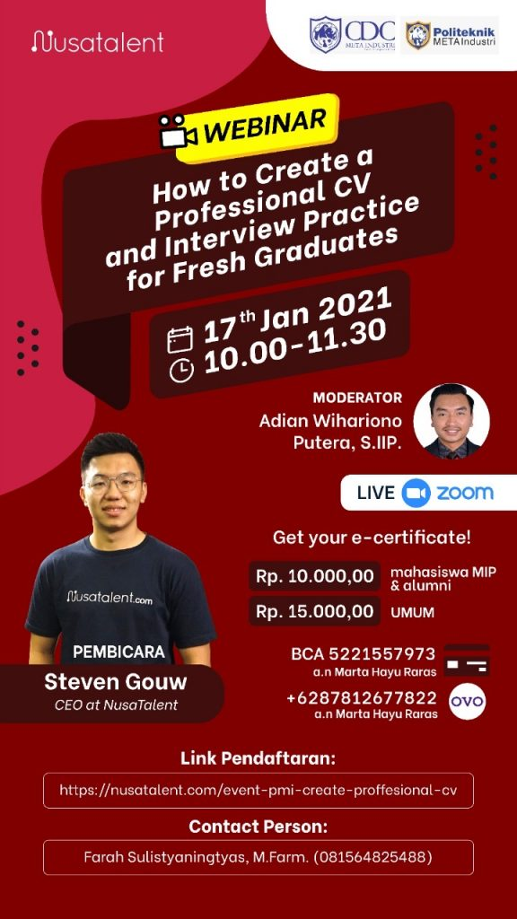 Webinar How To Create a Professional CV and Interview Practice for Fresh Graduates